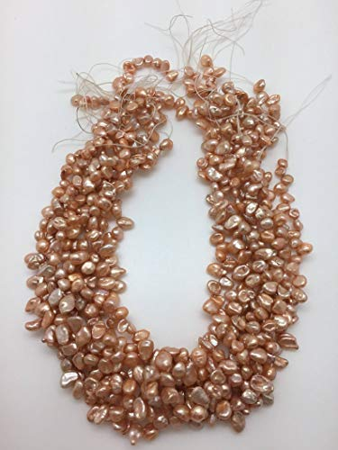 Jewelry Making Supplies - Peach Melon Color 7 x 5mm Keshi Freshwater Pearls Strand - Perfect and Stunning Beads
