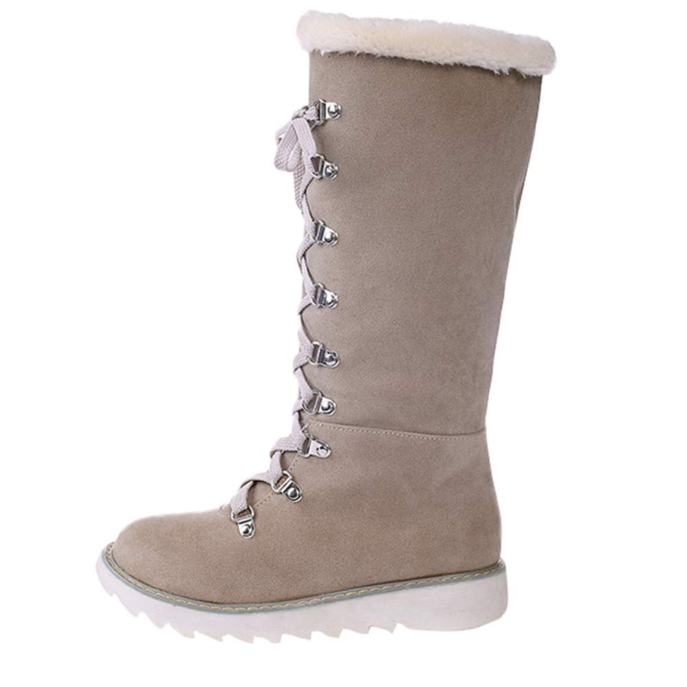 Inkach Womens Knee-High Boots Faux Fur Lined Winter Warm Snow Boots Shoes Lace-up Long Boot
