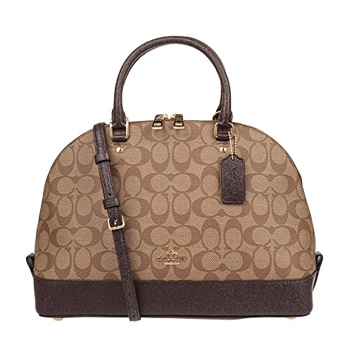 Coach Signature Sierra Satchel (IM/Khaki Oxblood Glitter) by Coach