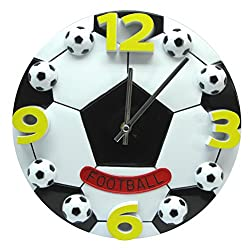 WINOMO 12 Inch Football Soccer Shaped Silent No-ticking Wall Clock for Living Room