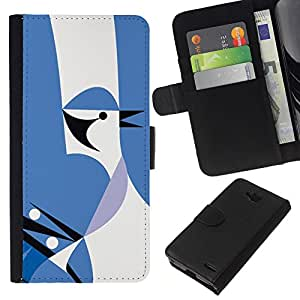 KLONGSHOP // Tirón de la caja Cartera de cuero con ranuras para tarjetas - Pájaro Ocultos - LG OPTIMUS L90 //