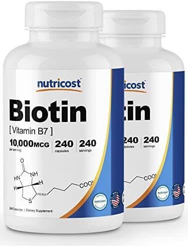Nutricost Biotin (Vitamin B7) 10,000mcg (10mg), 240 Caps (2 Bottles) - Veggie Caps, Non-GMO, Gluten Free