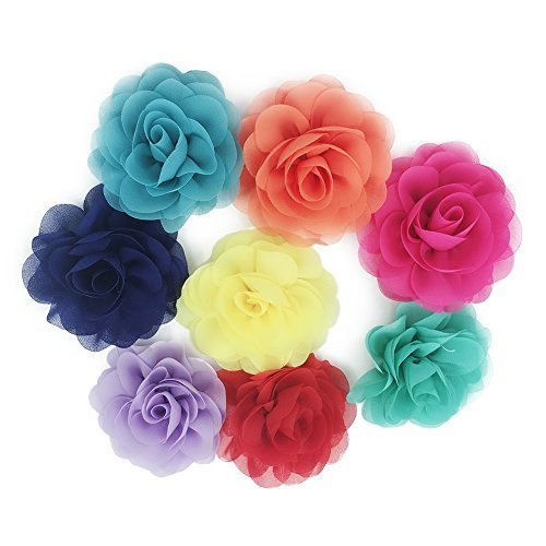(HBEDU Dog Collar Flowers Charms Accessories for Cat Puppy Pet Collars Rose Flower Grooming Decoration Pack of 8)
