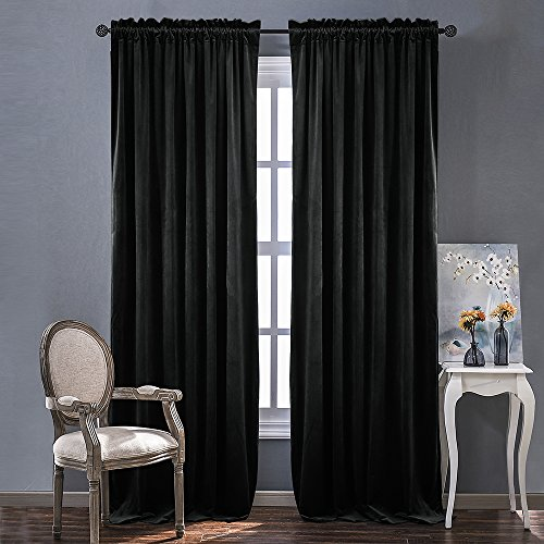 Nicetown Heavy Matt Solid Velvet Curtains for Holiday Home Decor, Blackout and Sound Reducing (2 Panel Pack, 96 inch Long, Black)