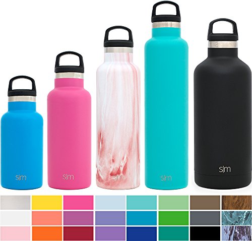 Simple Modern 20oz Ascent Water Bottle - Vacuum Sealed Narrow Mouth Slim Reusable Canteen 18/8 Stainless Steel Swell Flask - Double Walled Hydro Travel Mug - Concept Collection - Primrose Marble