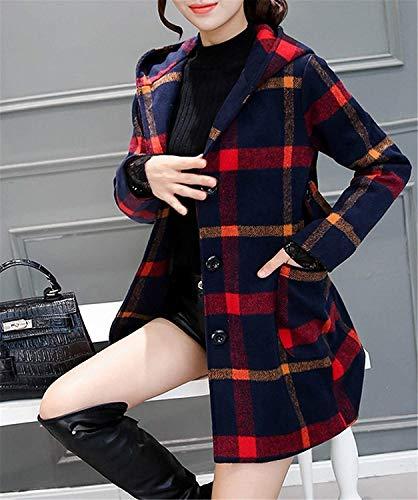 Manica Invernali Lunga Termico Casuale Quadretti Slim Moda Calda Autunno Incappucciato Outwear Fit Cappotto Eleganti Donna Giacca Giaccone Coat Vintage Rot Ybf76gy