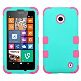 Wydan (TM) TUFF Impact Hybrid Hard Gel Shockproof Case Cover For Nokia Lumia 635 630 - Mint Green on Pink w/ Wydan Prying Tool