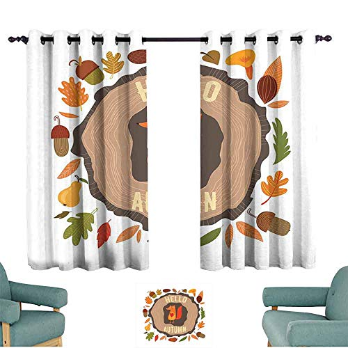 Mannwarehouse Hello Windshield Curtain Inspirational Autumn Themed Design with Vintage Fox Illustration Acorns Leaves Heart 70%-80% Light Shading, 2 Panels,55