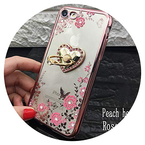 Luxury Hello Kitty Soft TPU Silicone Ring Holder Phone Case for iPhone X 8 7 6 Plus 5 5s SE 6S Plus Peacock Bling Bracket Covers,Peach Heart Rose,for iPhone 7 Plus (Case Tablet Hello Asus Kitty)