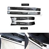 4 PCS Fit for Subaru XV Crosstrek 2018 Stainless Steel External Door Sill Scuff Plate Guard Sills Protector Trim - Black
