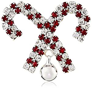 Red and Clear Crystal Faceted Glass Bead Candy Canes with Bell Pin