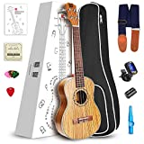 Vangoa Soprano Ukulele Zebra Wood UK-21Z 21 inch Acoustic Ukulele Beginner Bundle with Picks, Nylon Strap, Pick Container, Tuner, Kazoo, Extra Strings, Finger Shaker and Gig Bag