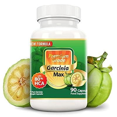 Garcinia MAX 100% Pure Garcinia Cambogia 7500mg 80% HCA, Extra Strength. Natural Appetite Suppressant, Carb Block, Caffeine-free, NEW Formula, Pharmaceutical Grade.