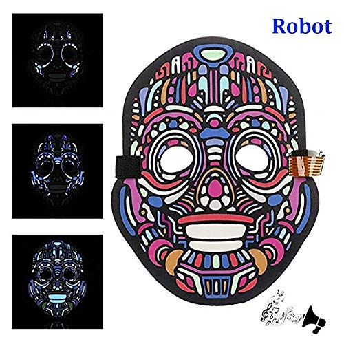 F.O.T LED Halloween Masks Music Voice Control Up Scary Mask, Cosplay Led Costume Mask for Adults and Teens