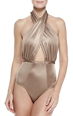 76688d56fa6 6 Shore Road by Pooja Women's Cabana Wrap One Piece Swimsuit, Shimmer Nude  (XS
