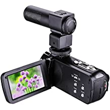 Bigaint Video Camera, HDV-301M Night Vision 1080P 16X Digital Zoom Camcorder 3 Inch LCD HDV Touch Screen Portable Video Camcorder With Microphone