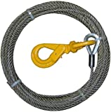Super Strong BA Products 4-S3850LH Super Swage 3/8'' x 50' Winch Cable with Self Locking Swivel Hook, 6 x 26 IWRC Wire Rope for Wrecker, Tow Truck, Rollback, Crane, etc.