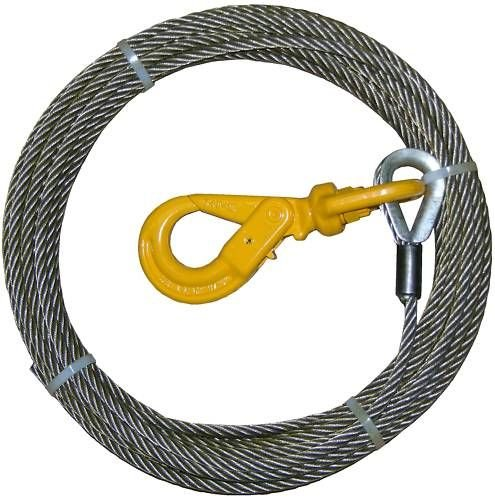 Super Strong BA Products 4-S38150LH Super Swage 3/8' x 150' Winch Cable with Self Locking Swivel Hook, 6 x 26 IWRC Wire Rope for Wrecker, Tow Truck, Rollback, Crane, etc.