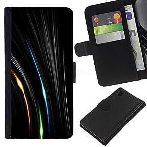 Sony Xperia Z1 / L39h / C6902 Modelo colorido cuero carpeta tirón caso cubierta piel Holster Funda protección - Vibrant Lines Mysterious Space Green