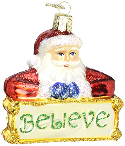 Old World Christmas Ornaments: Believe Santa Glass Blown Ornaments for Christmas ()