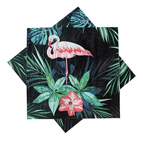 ELINNEE 40 Count Luncheon Napkins, Disposable Napkins Paper Napkins Serviettes Printing Flamingo for Weeding, Dinner and Party 13 x 13 Inches 3ply -