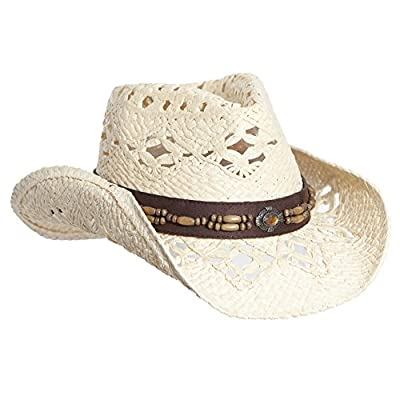 Vamuss Straw Cowboy Hat W/Vegan Leather Band & Beads, Shapeable Brim, Beach Cowgirl