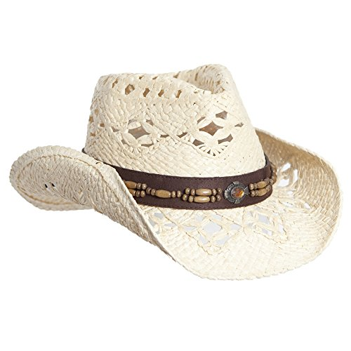 Hats Leather Ladies (Natural Straw Cowboy Hat for Women, Faux Leather Trim, Shapeable Brim)