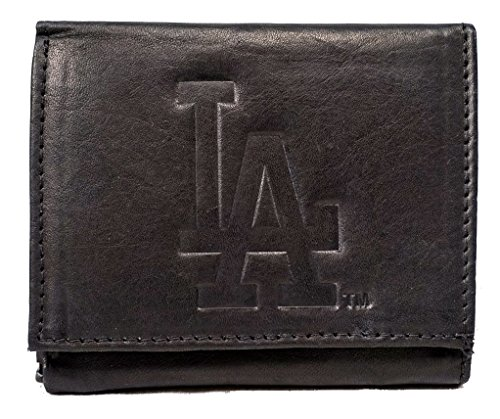 Embossed Mlb Tri Fold Wallet - Rico Los Angeles Dodgers MLB Embossed Logo Black Leather Trifold Wallet