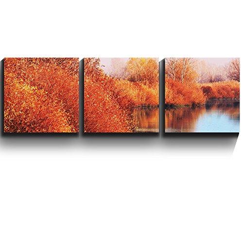 3 Square Panels Contemporary Art Autumn lake scene orange calm peaceful Three Gallery ped Printed Piece x 3 Panels