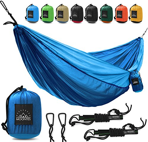 Camping Hammock Double Parachute Portable Travel Large Tree Camp Hammock with Hammock Straps for Backpacking Best Quality Lightweight Two Person Hammock Camping Men Women Dark Blue - - Female Spot A Location