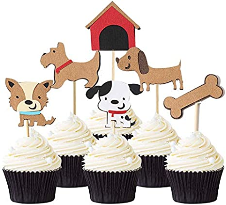 Peachy Dog Cupcake Toppers Dog Themed Party Supplies 24 Pcs Puppy Cupcake Funny Birthday Cards Online Fluifree Goldxyz