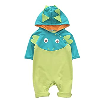 beda3962e Amazon.com: Newborn Baby Boys Jumpsuit Clothes Long Sleeve Hooded Cartoon  Animal Romper Outfits Sets (12-18 Months, Green): Beauty
