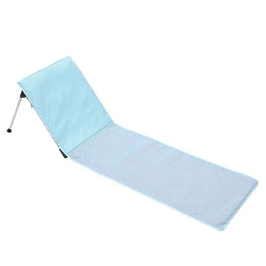 Hosa Tumbona Plegable Para Piscina Colchoneta de Playa con Respaldo Regulable y Coj/ín Reposacabezas Azul Con Almohada Acolchada y Bolsa de Transporte
