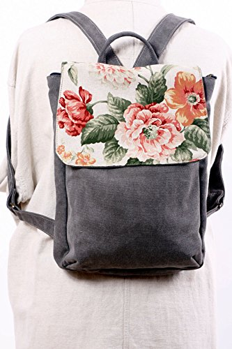 Handmade Vegan Leather and Canvas Floral Backpack, Feminine Laptop Rucksack by Ruth Kraus