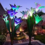 WOHOME Outdoor Solar Garden Stake Lights 2 Pack Solar Flower Lights with 8 Lily Flower,Multi-Color Changing LED Lily Solar Powered Lights for Patio,Yard Decoration,Bigger Flower and Wider Solar Panel Review