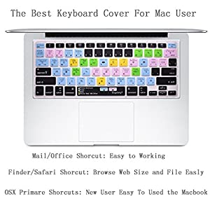 "Dogxiong US Layout Mac OSX Primary Finder Safari iWorks MS Office Shortcuts Hot Keys Pattern Silicone Keyboard Cover Keyboard Skin Protection for Macbook Air Pro 13"" 15"" /Retina 13 15"