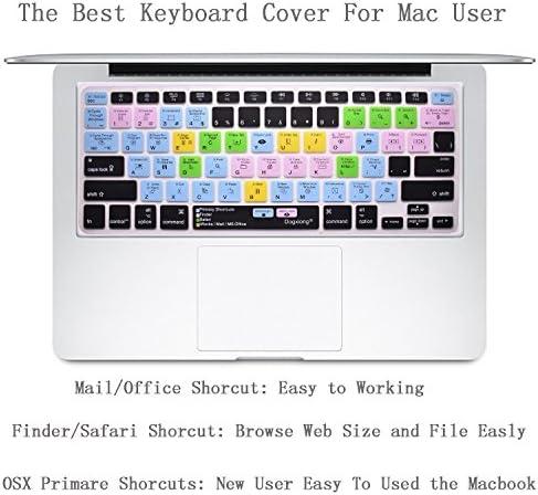 [해외]Learning Mac OSX Primary Finder Safari iWorks MS Office Shortcuts Hot Keys Pattern Silicone Keyboard Cover Keyboard for MacBook Air 13 inch(No-Touch ID) ; for MacBook Pro 13 15 (2015 Before) / Learning Mac OSX Primary Finder Safari...