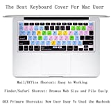 """Dogxiong US Layout Mac OSX Primary Finder Safari iWorks MS Office Shortcuts Hot Keys Pattern Silicone Keyboard Cover Keyboard Skin Protection for Macbook Air Pro 13"""" 15""""/Retina 13 15"""