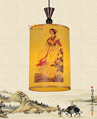 Injuicy Modern Chinese Classical Sheepskin PVC Pendant Lights Shades Lantern Ceiling Lights Fixtures Restaurant Dining Rooms Tea House Corridor Bar Balcony Decor (Girl Dia. 11.8 Inch)