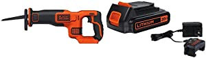 BLACK+DECKER 20V MAX Reciprocating Saw with Lithium Battery & Charger (BDCR20B & LBXR20CK)