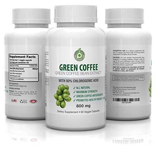 Pure Green Coffee Bean Extract - 800 mg GCA (50% Chlorogenic Acid) - Active Weight Loss Aid, Faster Fat Burning & Improved Metabolism - All Natural, 100% Veg Safe - No Side Effects (60 Capsules) (3 In 1 Green Coffee Bean compare prices)