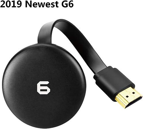 G6 inalámbrica Wi-Fi Pantalla Chromecast Receptor dongle HDMI 2,4GHz/5GHz 4K 1080P Stick TV Móvil Enviar Pantalla Mirroring Adaptador iOS/androide Netflix Youtube,Negro,G6: Amazon.es: Hogar