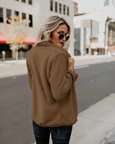 Clearance Sale Lapel Fuzzy Sweater for Women Warm Fluffy Fleece Cardigan Loose Open Front Coat Long Sleeve Outwear (Coffee, M) by TOOTO (Image #2)