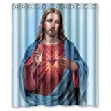 60''(w) x 72''(h) Jesus Blessing Christian Theme Pattern 100% Polyester Bathroom Shower Curtain Shower Rings Included