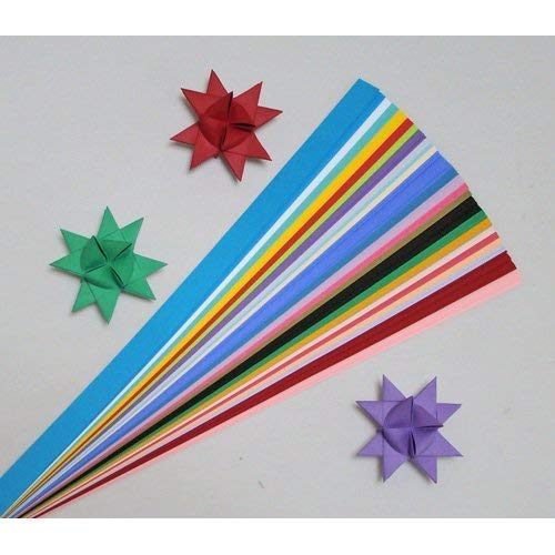 Paper Strips for Weaving Projects. Paper Strips for Moravian Stars, German Stars and Frobel Stars. Variety of Colors. 100 Strips per Pack. 1/2 inch x 19 inch in Size