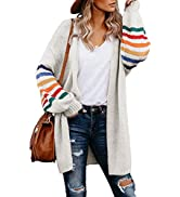 Asvivid Color Block Striped Open Front Long Cardigans for Women Comfy Knit Sweater Coat Outwear