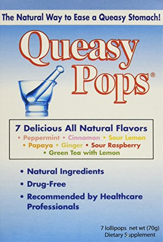 Three Lollies Queasy Pops | Variety Pack for Nausea Relief | 7 Delicious Flavors | Peppermint, Cinnamon, Sour Lemon, Papaya, Ginger, Sour Raspberry, Green Tea with Lemon |3 Boxes | 7 Pops Per Box