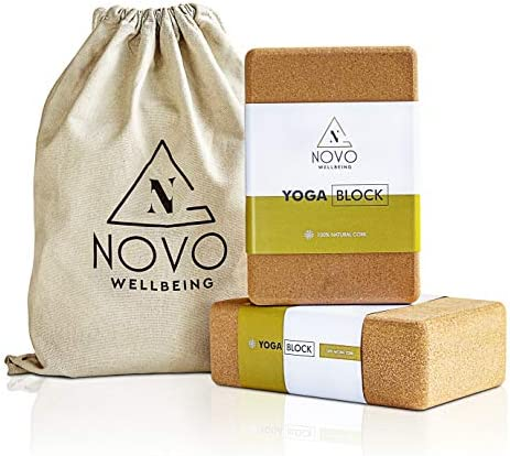 "NOVO Wellbeing Cork Yoga Block for Stretching and Exercise prime Density yogablocks for Stability eco Friendly Natural Non Slip 9""x6""x3"""