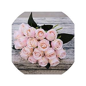 Artificial Flowers 18Pcs/Lots Artificial Rose Flowers Wedding Bouquet White Pink Thai Royal Rose Silk Flowers Home Decoration Wedding Party Decor 109