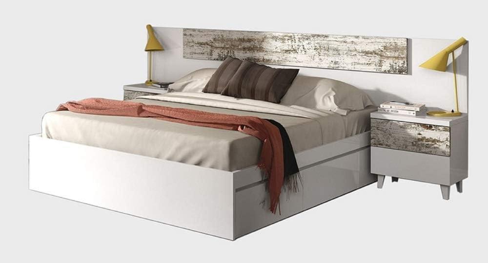 iWork Conjunto de Muebles NORDIK Compuesto de Cabezal + 2 mesitas (2C) Color Blanco Brillo/Vintage y Armario de Dos Puertas correderas: Amazon.es: Hogar